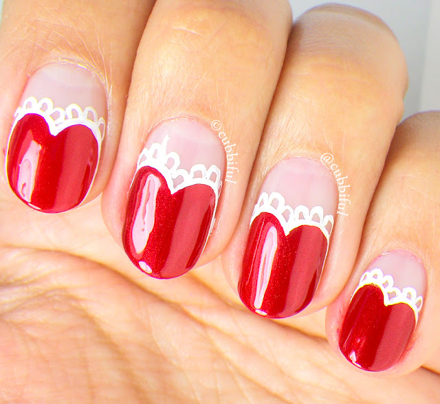 Lace Heart Nail Art