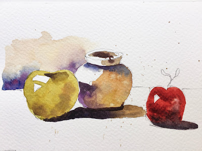 exercise for a simple still life in watercolor Fabriano Studio paper and Princeton Neptune 6 round brush