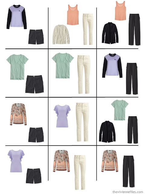 a dozen outfits taken from a 4 by 4 wardrobe in black, ivory and pastels
