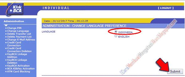 cara mengganti bahasa di klikbca