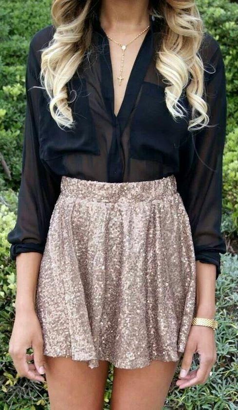 trendy outfit / black blouse + golden skirt