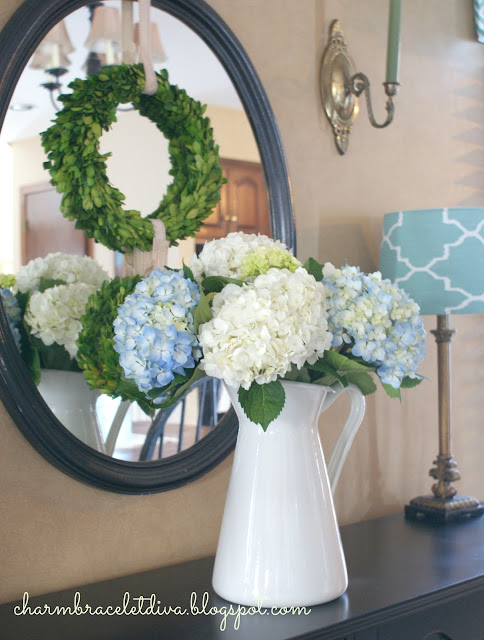 hydrangeas in white farmhouse pitcher