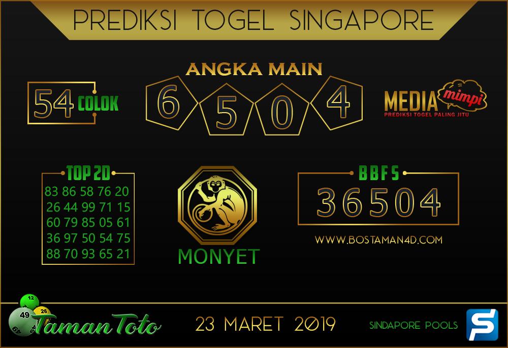 Prediksi Togel SINGAPORE TAMAN TOTO 23 MARET 2019