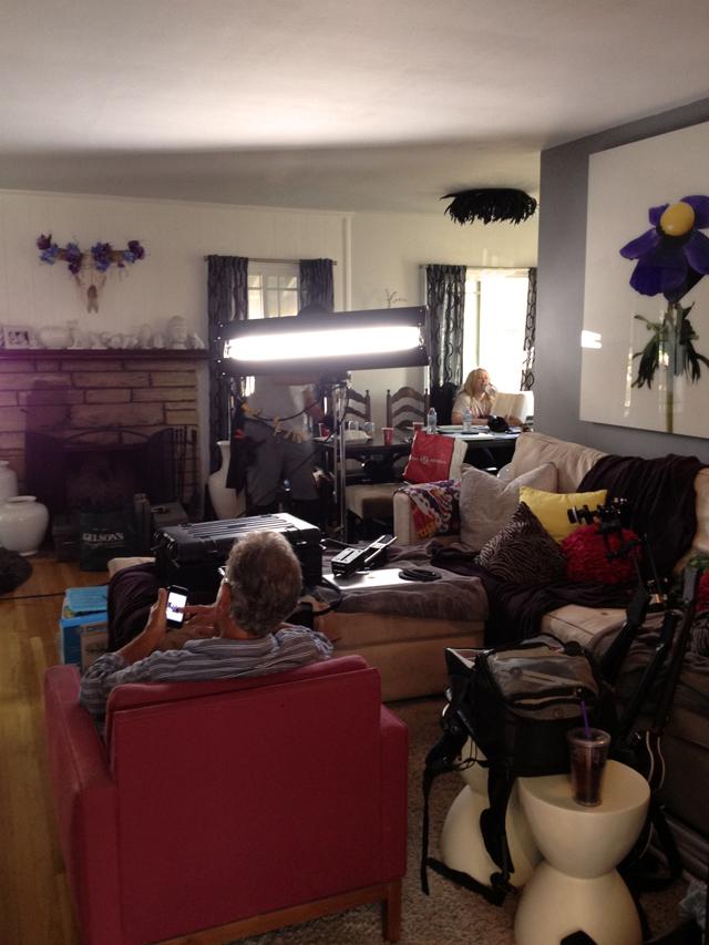 living room full of film gear