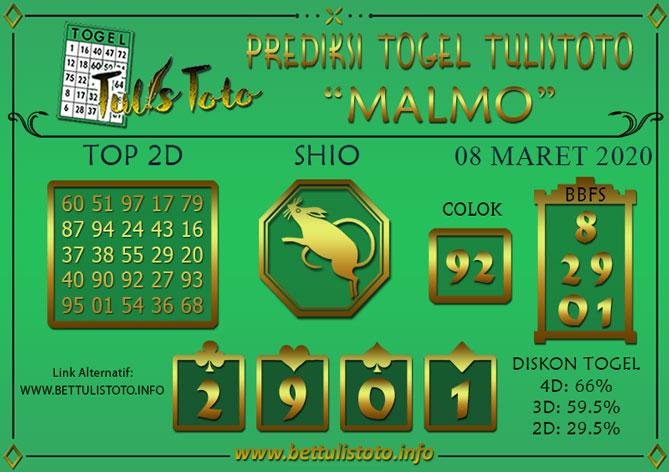 Prediksi Togel MALMO TULISTOTO 08 MARET 2020