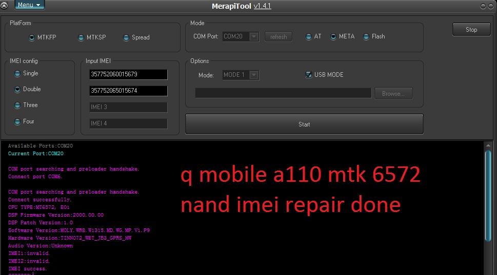 Amir Mobiles: Q MOBILE A110 MTK 6572 NAND IMEI REPAIR DONE