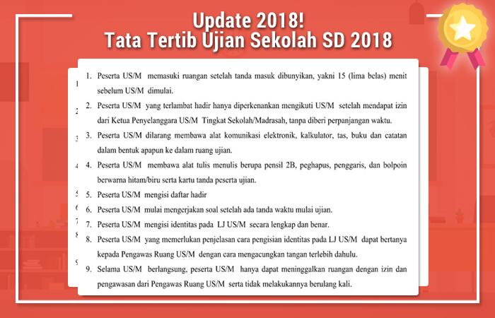 Tata Tertib Ujian Sekolah SD 2018