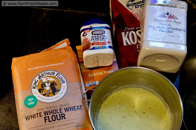 ingredients for making garlic scape pesto and ricotta muffins