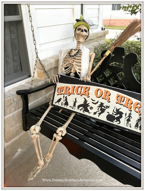 Halloween-Decorations-Porch Swing-Front Porch Skeleton-From My Front Porch To Yours