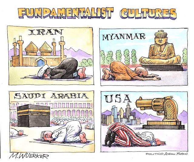 Title: Fundamentalist Cultures.  Image:  Iranian praying to Allah, citizen of Myanmar bowing before statue of Buddha, Saudi Arabian praying to Allah, Uncle Sam worshiping a golden statue of a gun.