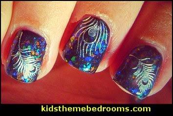 glitter FEATHER Nail Art Water Sticker Decals