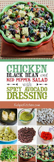 Chicken, Black Bean, and Red Pepper Salad with Spicy Avocado Dressing found on KalynsKitchen.com