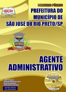 Apostila Pref. Rio Preto Concurso Público nº 02/2015 - Agente Administrativo.