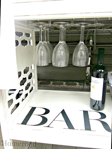 How to create wine glass storage on a DIY rolling bar cart