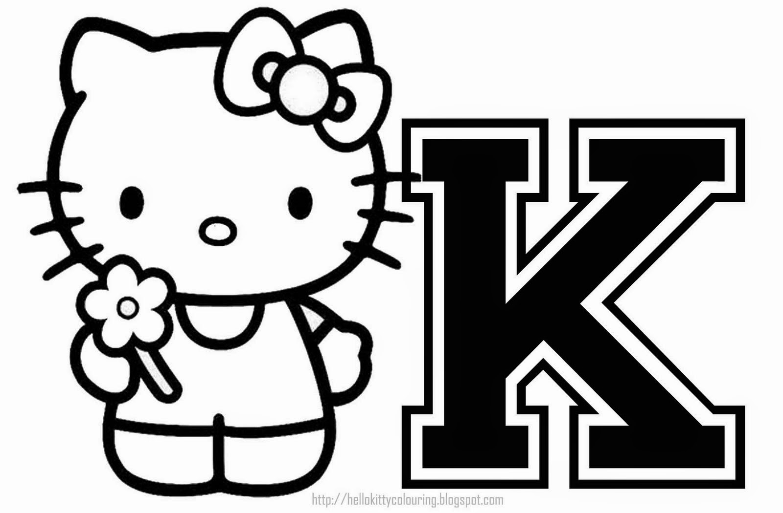 HELLO KITTY COLORING: PERSONALIZED COLORING PAGE INITIAL LETTER ... | Hello Kitty Abc Coloring Pages  | title