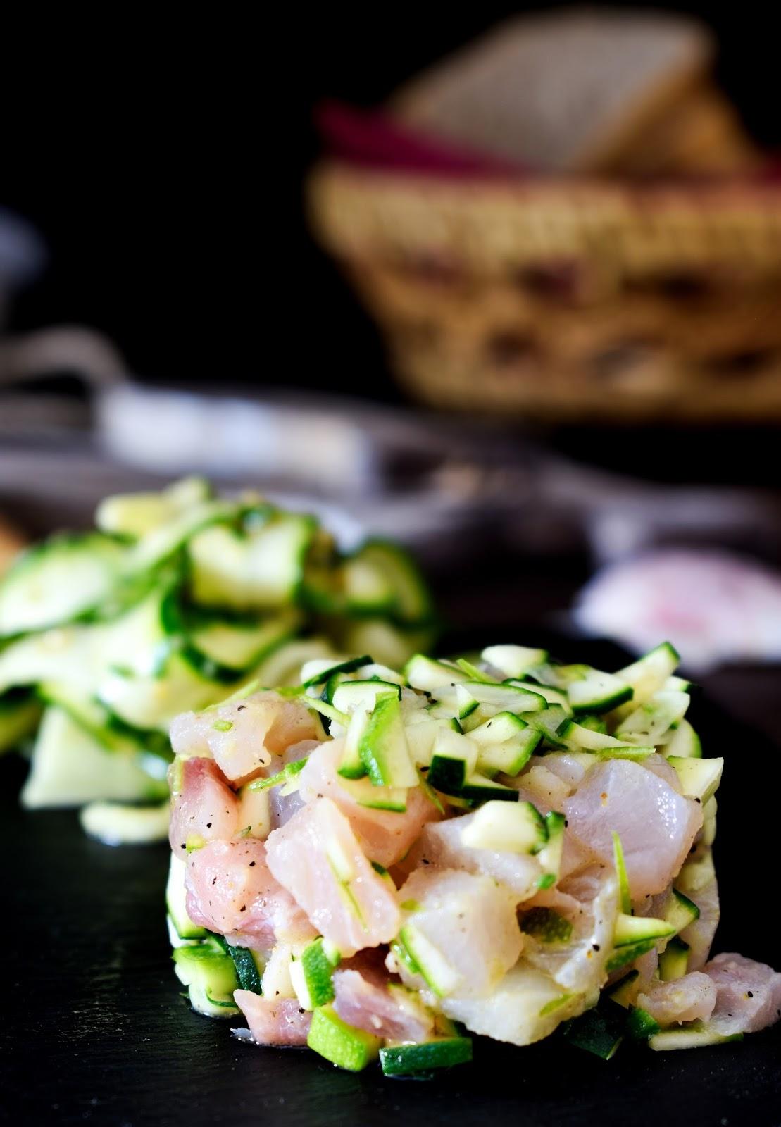 Tartare di spada con zucchine alla senape