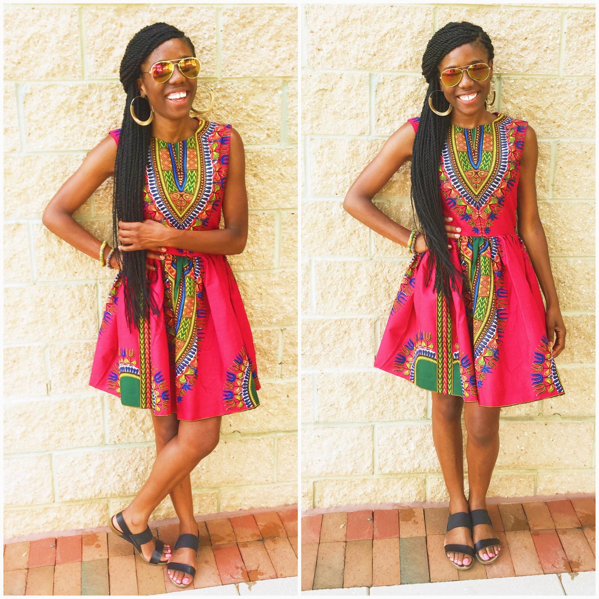 Dressing des 4 Saisons Zuvaa African style Dashiki Dress robe evasee pink rose Concours