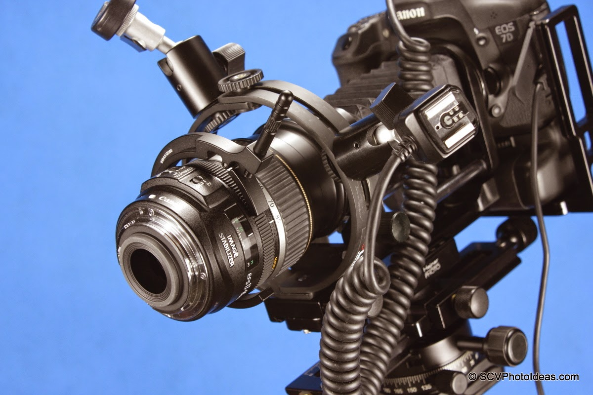 Canon EF-S 17-85 mm f/4.0-5.6 IS USM reverse mounted on bellows w/ SCV macro flash bracket & Sunwayfoto DRH-77 Focusing Handle