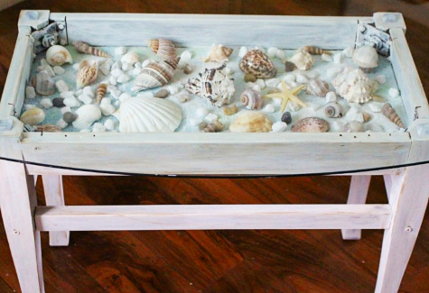 Storage Bench Makeover into Display Table