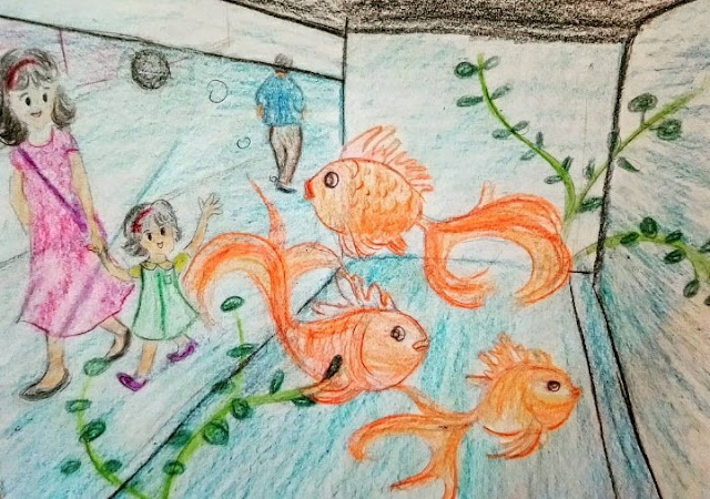 goldfish hongkong momdaughter sketches art arts drawing