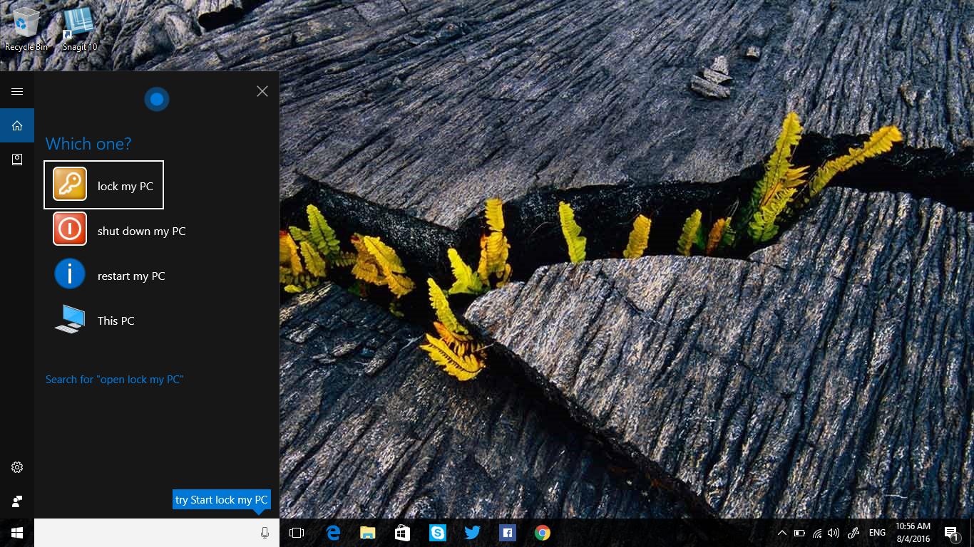 Thủ thuật sử dụng Cortana tắt máy tính trên Windows 10 version 1607