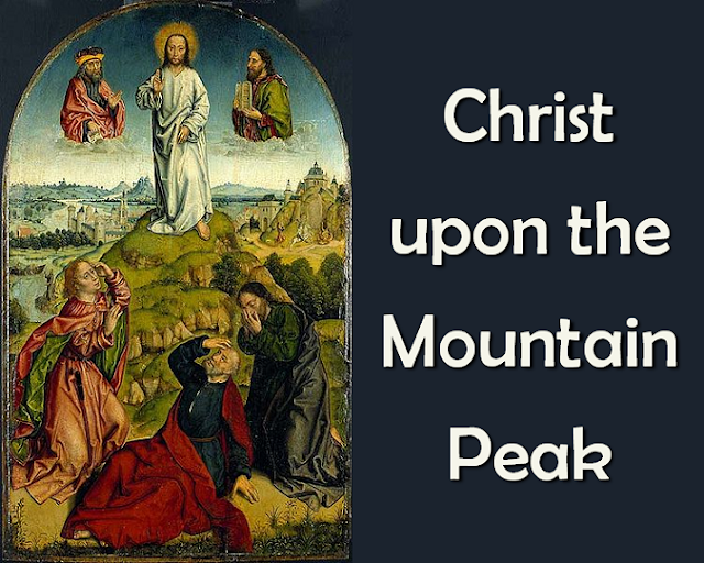 Jesus on the mountain peak stands alone in glory blazing; Let us, if we dare to speak, join the saints and angels praising.  Alleluia!  2  Trembling at his feet we saw Moses and Elijah speaking. All the Prophets and the law shout through them their joyful greeting:  3   Swift the cloud of glory came,  God, proclaiming in its thunder Jesus as the Son by name! Nations, cry aloud in wonder!  4  Jesus is the chosen One, living hope of every nation, hear and heed him, everyone; sing, with earth and all creation,