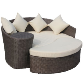 Charles Bentley Garden Wicker Rattan Curved Day Bed / Sofa & Footstool, Outdoor Furniture, Curved Patio Furniture, Modern Curved Sectionals, Curved Sectional, Curved Patio Furniture,