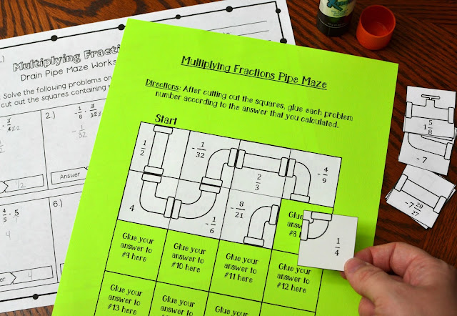 Multiplying Fractions Drain Pipe Maze