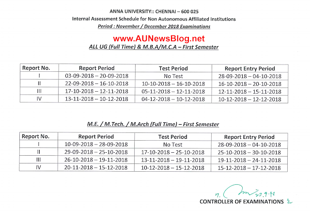 Anna University First Semester Internal Mark & Assessment Schedule details for Nov Dec 2018
