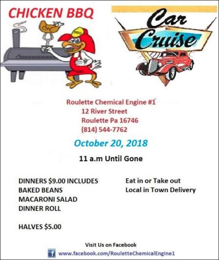 10-20 Chicken BBQ & Car Cruise, Roulette VFD