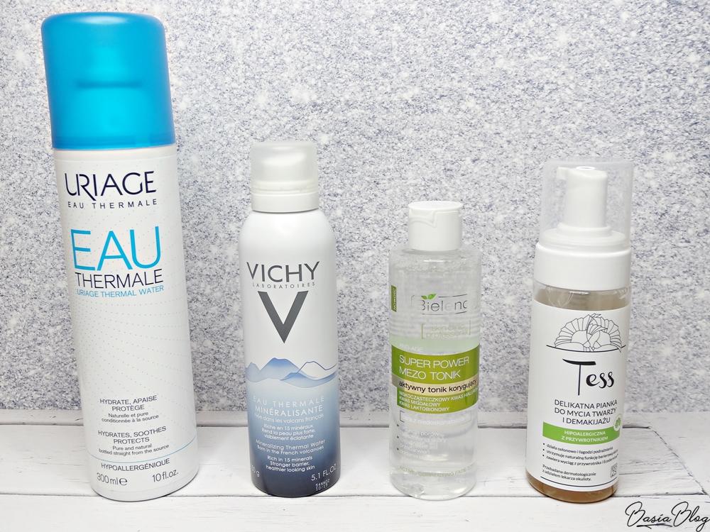 Pielęgnacja twarzy - woda termalna Uriage, woda termalna Vichy, Bielenda Super Power Mezo Tonik korygujący, Tess pianka do mycia twarzy i demakijażu Idea25