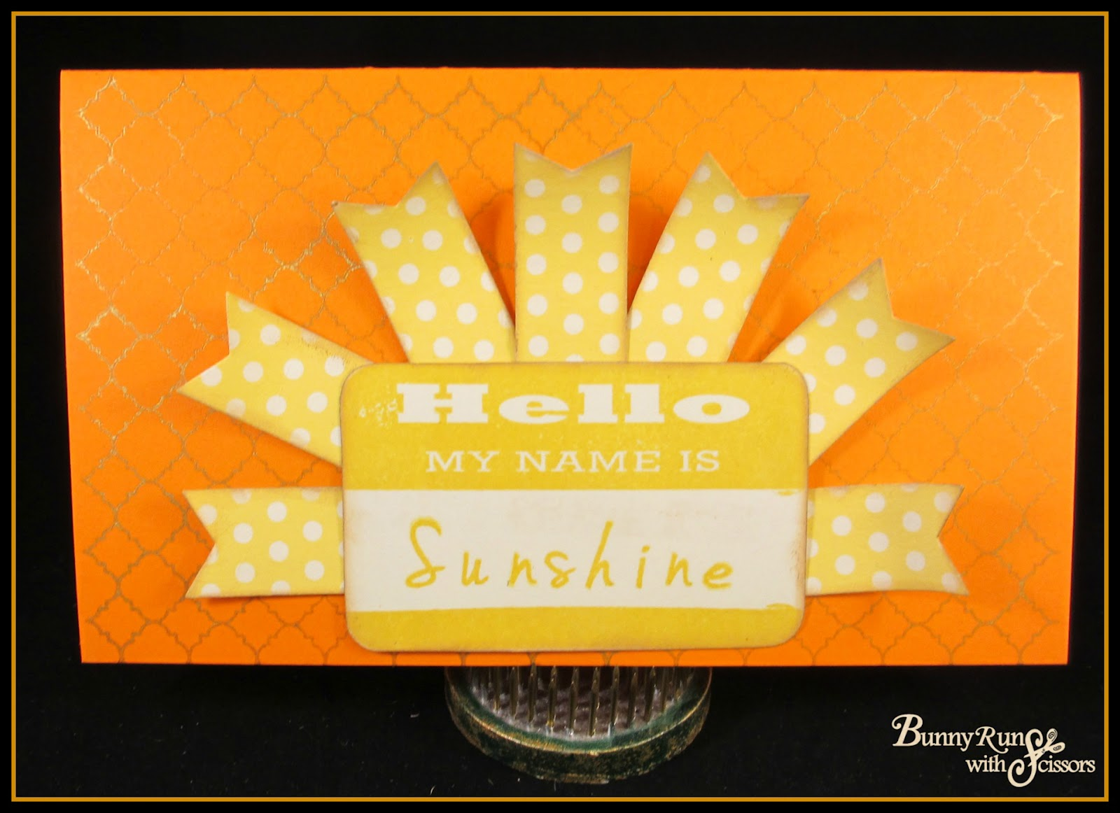 So first is my Hello my name is Sunshine! This was a pretty simple card but  I love how it came out! cb6854b4b