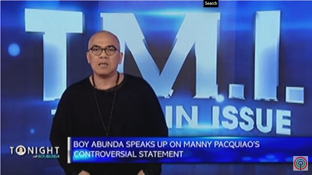 Boy Abunda speaks up on Manny Pacquiao's controversial statement. Source: ABS-CBN.
