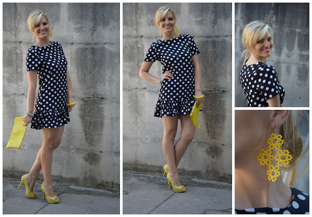 abito stampa pois polka dots dress borsa gialla scarpe gialle yellow shoes yellow bag mariafelicia magno fashion blogger color block by felym fashion blog italiani fashion blogger italiane blog di moda blogger italiane web influencer italiane