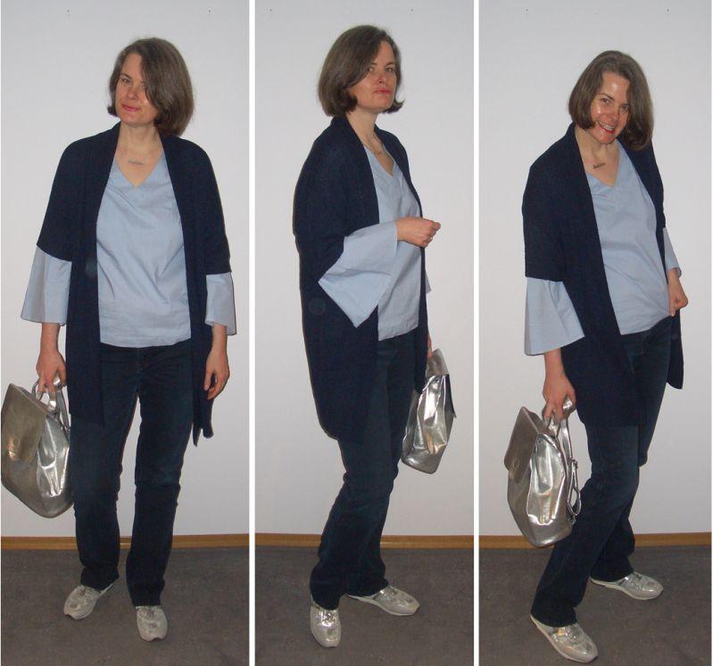 Blauweiße Bluse mit Statementärmel mit Silber kombiniert