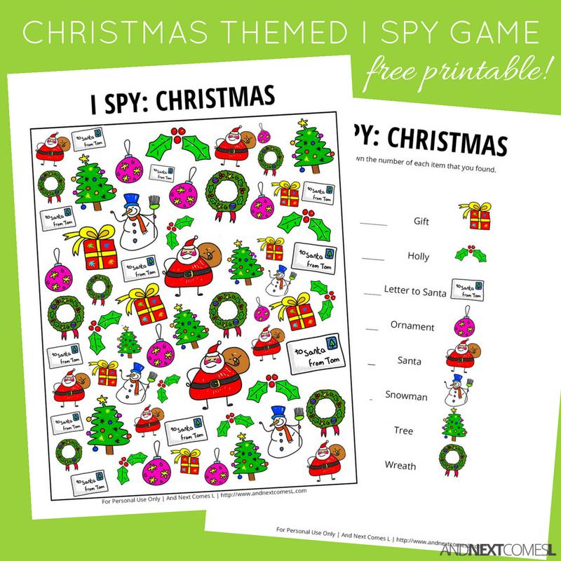 This is a photo of Universal Christmas I Spy Printable
