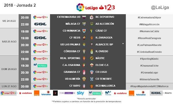 LaLiga 1|2|3 2018/2019, horarios oficiales de la jornada 2