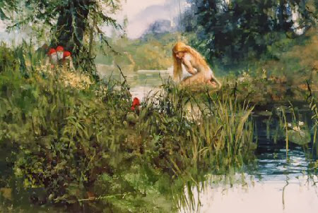 Huldra, the beautiful looking young woman looking at her reflection in the river