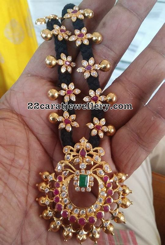 Black Thread Necklaces with CZ Pendants