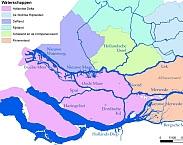 Figuur 2.1 Hoofdwatersysteem Rijn-Maasmonding en Waterschappen (Hydrologic, 2015). In: Analyse van zoutmetingen in de Lek