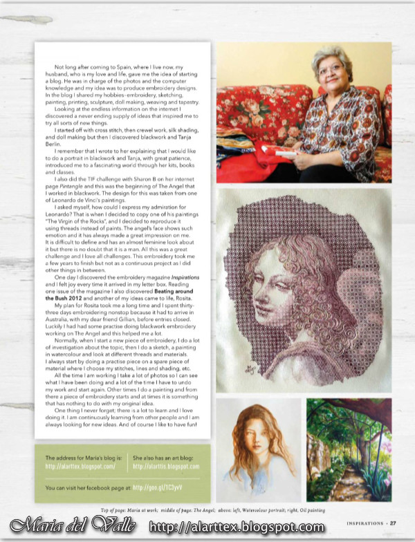 Inspirations Magazine Article abaout Maria-del-Valle's works - February 2018 - page 27