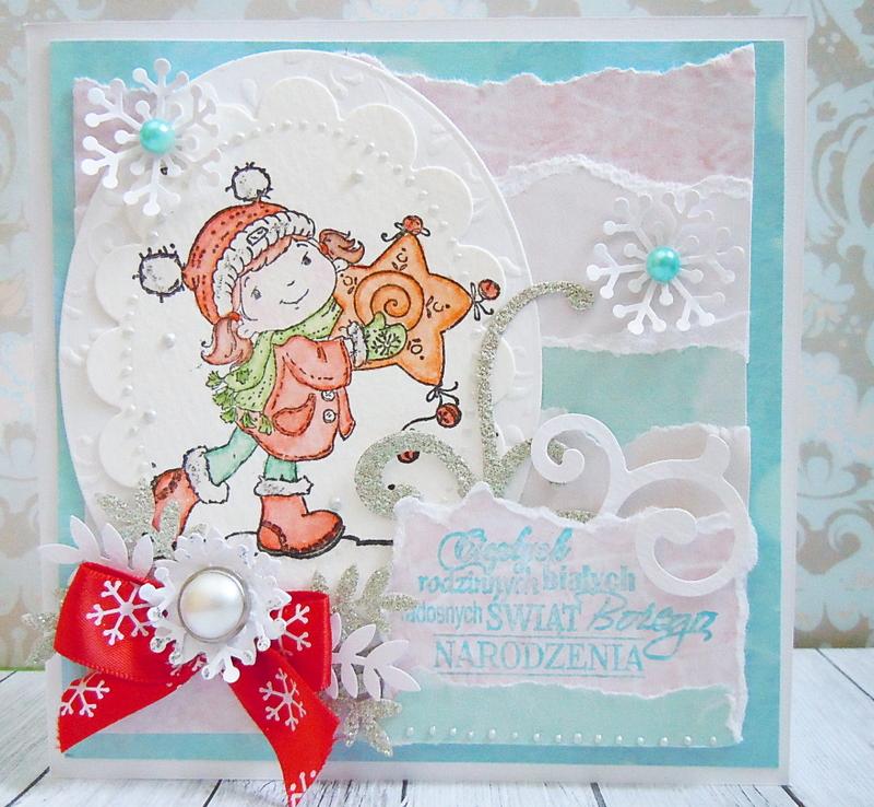 Kartka na Boże Narodzenie z kolorowanym stempelkiem