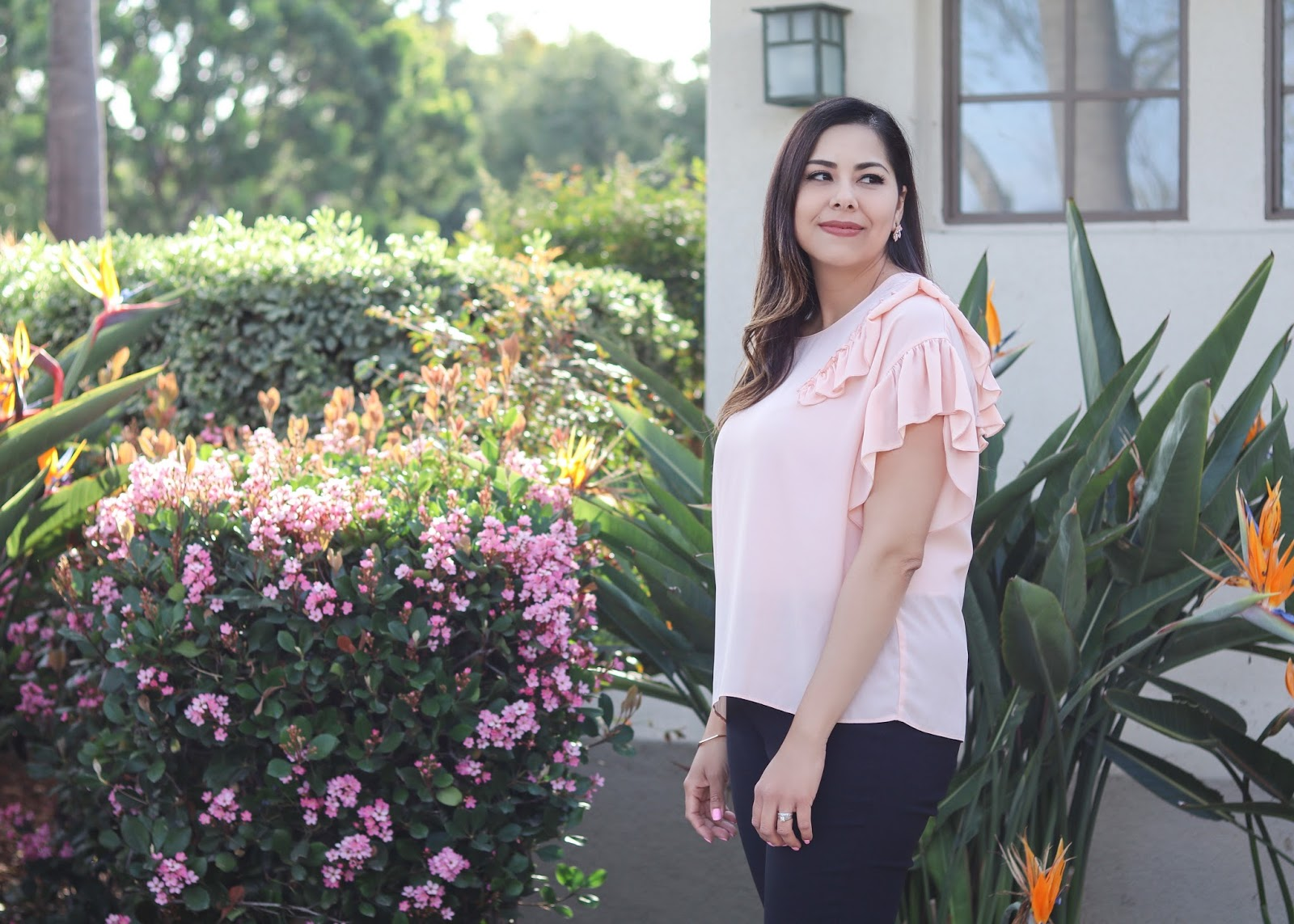 Pink ruffled top, libby edelman pink top, spring style with jcpenney