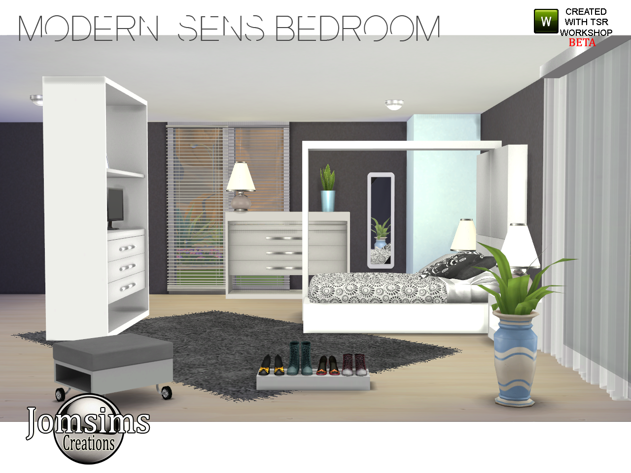 Jomsimscreations blog new bedroom modern sens sims 4 for Sims 3 salon moderne