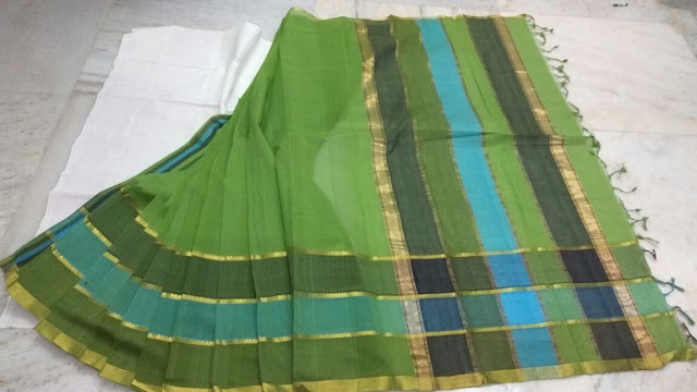 Green Color Mangalagiri Cotton saree