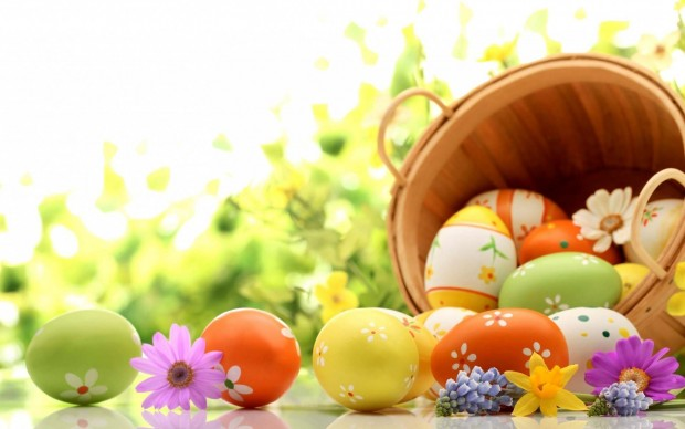 easter eggs in basket wallpapers