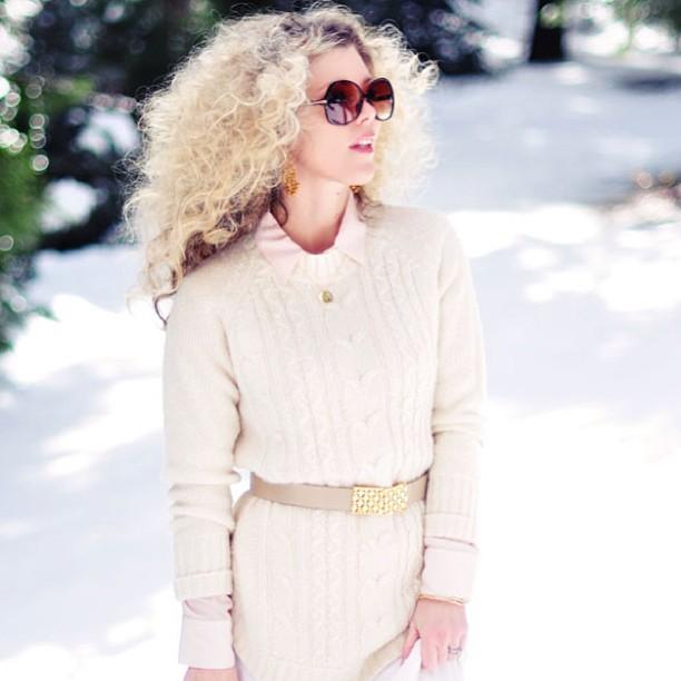 big blonde afro curls, neutrals in the snow