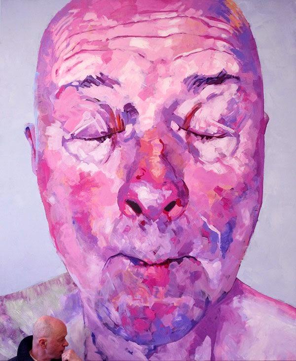 pintura  al oleo de un anciano