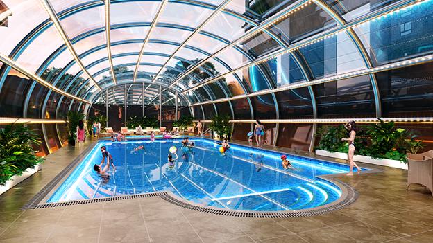 Bể bơi bốn mùa nằm vị trí trung tâm của Việt Đức Complex