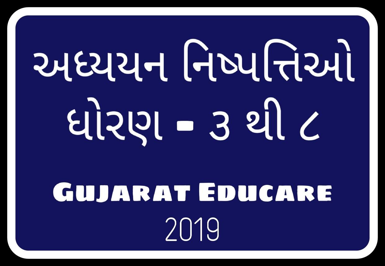 Adhyayan Nishpatti Std 3 to 8 - Learning Outcomes - Gujarat